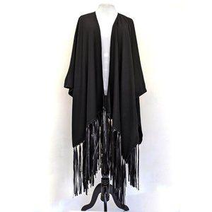 Black Long Heavy Wool Fringe Poncho
